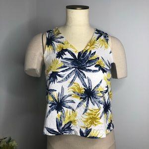 Dottie Mustard Yellow Navy Tropical Textured Top
